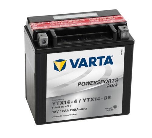 VARTA AGM Motorradbatterie 12V 12 Ah 512014010 12Ah YTX14-4 YTX14-BS NEU