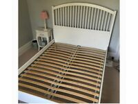 IKEA Tyssdal double white wooden bed