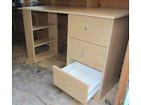 Beech effect medium-size desk with embedded shelves and drawers