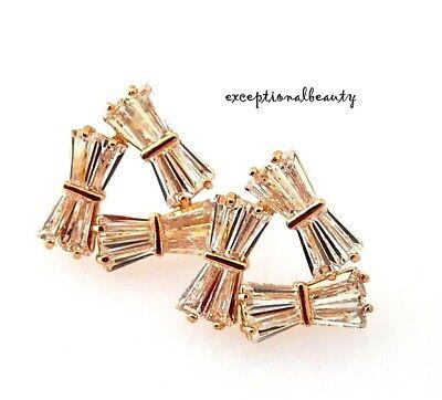 Gold Cubic Zirconia Baguette Cut Pierced Stud Elegant Bow Tie Triangle Earrings
