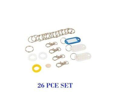 Keyring & Tag Set 26pce Kit Durable plastic key covers, key fobs, steel rings  Durable Plastic Key Tag