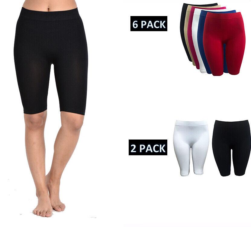 "Women Basic Knee Length 17"" Biker Shorts Nylon Spandex Yoga"