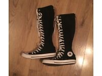 Knee high black white converse shoes alternative emo