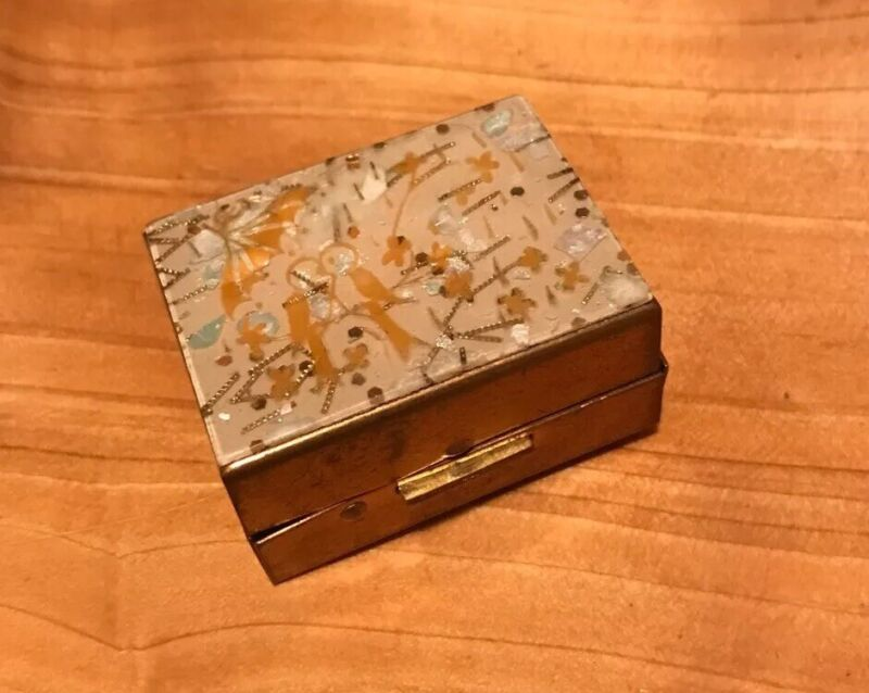 Vintage Gold tone Metal Lucite Confetti Pill Hinged Box Small
