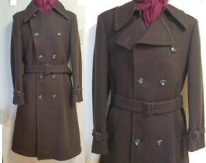 "Oakville Mens SMALL 36"" Long TRENCH COAT 100% WOOL Vtg LIKE NEW DB Utex Canada Paris Design Ruven Feder Brown Free Scarf"