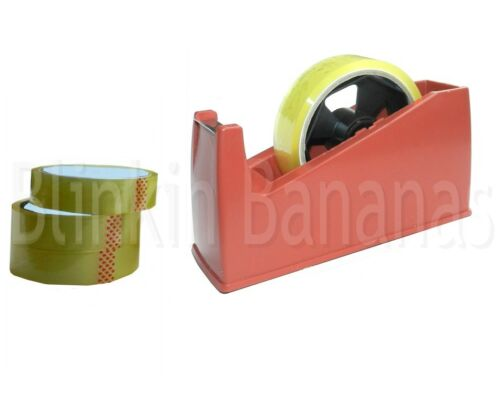 DESKTOP TAPE DISPENSER CELLOTAPE SELLOTAPE HEAVY DUTY WEIGHT HOLDER & 4 ROLLS 03