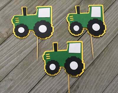 12 Tractor Cupcake Toppers/ John Deere Cupcake Toppers/ Tractor Party Decor](John Deere Party Decorations)