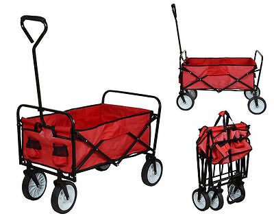 Folding Utility Wagon Collapsible Garden Cart Shopping Beach Toy Sports Cart Red