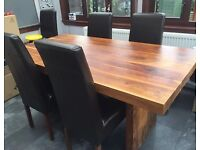 Solid Sheesham Wood Dining Table & Leather Chairs