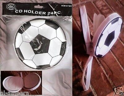 Soccer Ball Shape Portable Carrying CD Case /Holder w/Handle Holds 24 CD's /DVDs