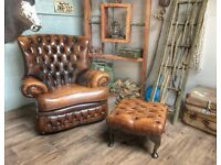 Chesterfield Vintage Leather Armchair + Footstool Brown