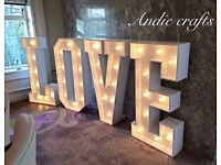 Giant 4ft led love letters for weddings or engagements hire