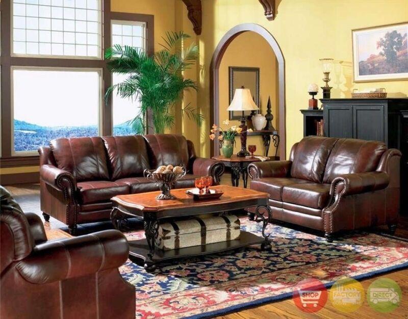 Princeton 100% Genuine Top Grain Leather Sofa & Love Seat Living Room Furniture
