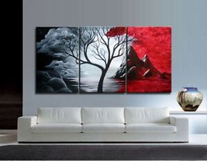 3PIECES-MODERN-ABSTRACT-HUGE-WALL-ART-OIL-PAINTING-ON-CANVAS-No-FRAME