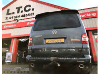 VW T5 fitted with a Proflow Stainless Steel Custom Mid / Rear Exhaust Dual Tail Pipes