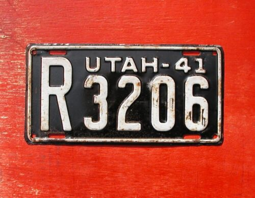 1941 Utah Original  R-3206 License Plate