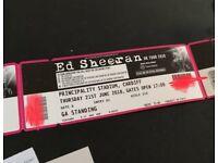 2 x Ed Sheeran Tickets - STANDING - Cardiff 21st June