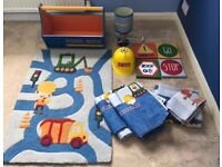 ** Next boys bedroom accessories, curtains, lamp, rug, toy box**