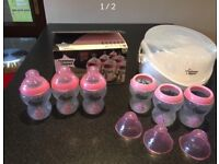 Tommee Tippee microwave steriliser and bottles