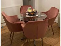 4 blush pink dining chairs