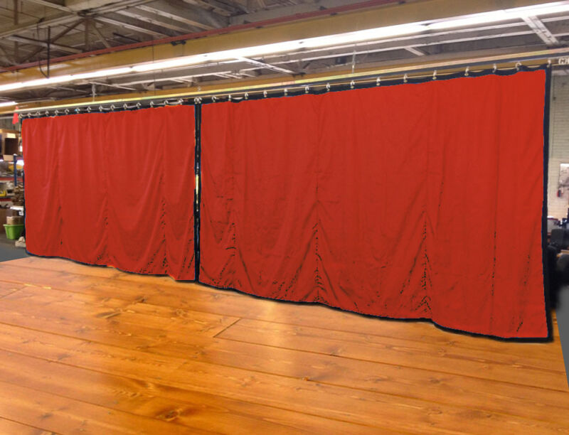 Lot of (2) Mandarin Orange Curtain/Stage Backdrop, Non-FR, 9 H x 20 W
