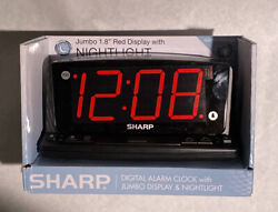 Sharp LED Alarm Clock with Nightlight and Jumbo Display