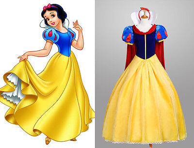 Snow White Schneewittchen Disney Cosplay Kostüm Abend-kleid lang (Disney Satin Kostüm)