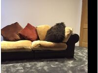 DFS Hemmingway Leather and chenile fabric large sofa