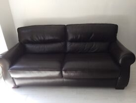 Brown leather 4 seater sofa excellent condition