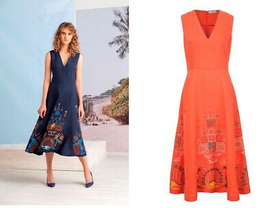 Marine Blau Leinen Kleid online kaufen