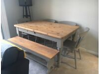 Pine table, chairs and bench