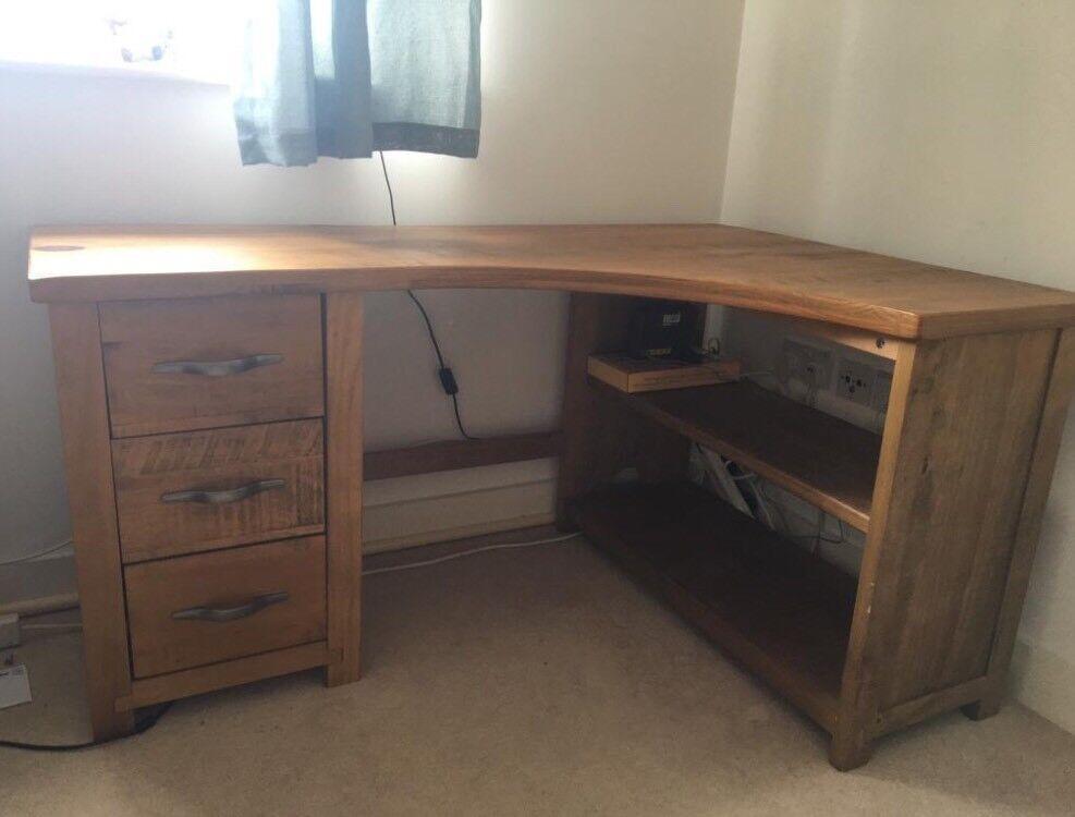 Next Hartford Corner Office Desk Table Solid Distressed Pine