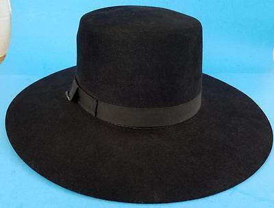 Black Beaver Genuine Fur 5 XXXXX Cowboy Hat Beaver Hats Brand SZ 7 1/8 - 57 USA