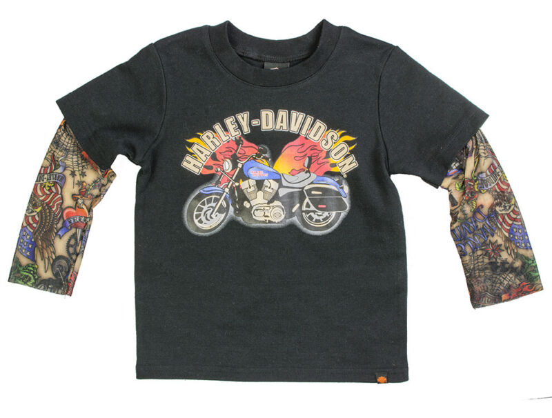 Harley-Davidson Toddler Boys Black T-Shirt With Long Tattoo Sleeves 1070641
