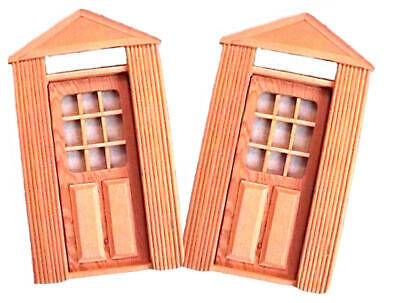 NEW 2 Solid Wood Opening DOLLHOUSE DOORS Panelled W/ Windows NEW /Boxes  - $6.49