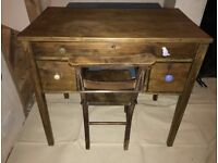 Antique Solid Wood Desk With Chair - Victorian Edwardian Reclaimed Shabby Chic