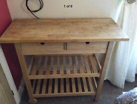 Ikea wooden kitchen island 'butchers block' trolley
