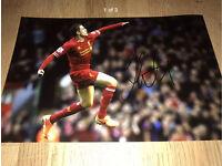 Hand Signed Liverpool Jordan Henderson Picture, Genuine COA