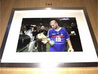Hand Signed Zinedine Zidane France Legend Picture AUTHENTIC COA