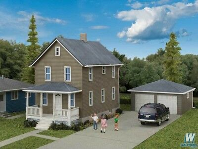 Scale Two Story House - 3792 Walthers Cornerstone Two-Story House with Two Car Garage HO Scale