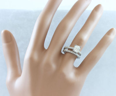 GIA I-SI1 18k Whtie Gold Cushion Cut Diamond Engagement Ring And Band 2.20ctw 1