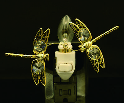 - 24K GOLD PLATED SWAROVSKI CRYSTAL STUDDED DOUBLE DRAGONFLY NIGHT LIGHT UL LISTED