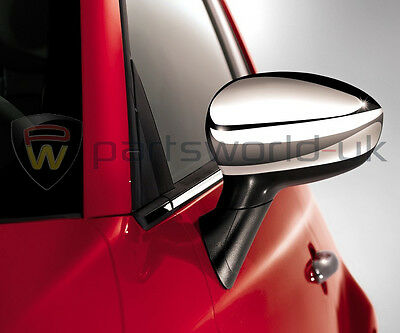 Pair of New Genuine Fiat 500 & 500c Shiny Chrome effect wing door mirror covers