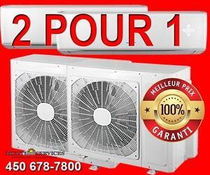 2 POUR 1  Thermopompe, Murale,spécial!, Éligible Subvention! Meilleur Prix Garantie! 514 951-7499