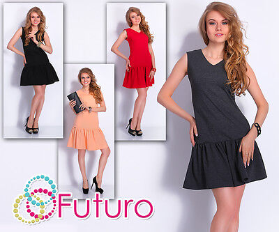 Tiered Fass (Mini Tiered Dress With Pockets & Zip V Neck Sleeveless Tunic Sizes 8-10 FA390)