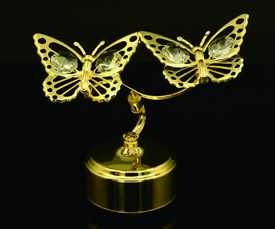 - SWAROVSKI CRYSTAL STUDDED DOUBLE BUTTERFLY MECHANICAL MUSIC BOX 24K GOLD PLATED