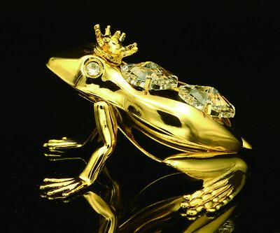 SWAROVSKI CRYSTAL STUDDED FROG PRINCE FIGURINE ORNAMENT 24K GOLD PLATED  24k Gold Plated Frog