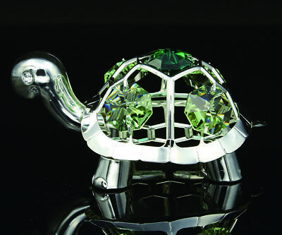 SWAROVSKI CRYSTAL ELEMENT STUDDED TORTOISE FIGURINE ORNAMENT SILVER PLATED