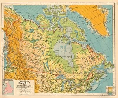 Dominion of Canada with Newfoundland 1930 Original Antique Map