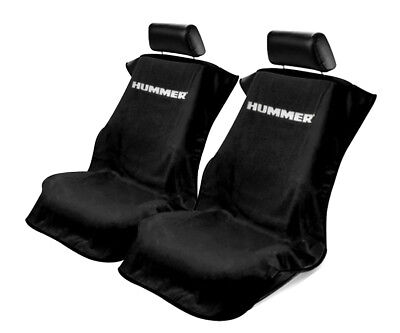 Seat Armour 2 Piece Front Car Seat Covers For Hummer - Black Terry Cloth